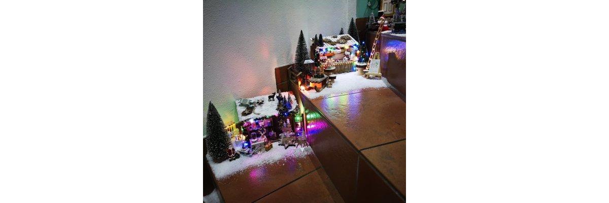 Mit Beleuchtung und Miniaturen zum Weihnachtszauber - Elfentür Feeentür Zaubertür Tür für Elfen Weihnachtself Vorweihnachtszeit