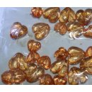 Acryl Herzen mit Golddesign bernstein / orange 24...