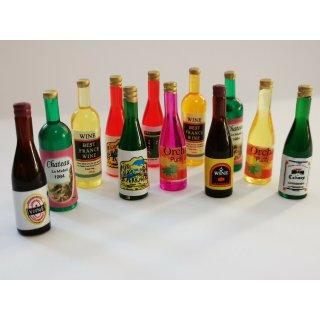 Acryl Streudeko Deko Miniatur Minigarten Puppenhaus Flasche Wein 12 Flaschen