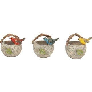Polyresin Deko Miniatur Minigarten Vogel auf Korb 3 Stück, Vögel in 3 Farben