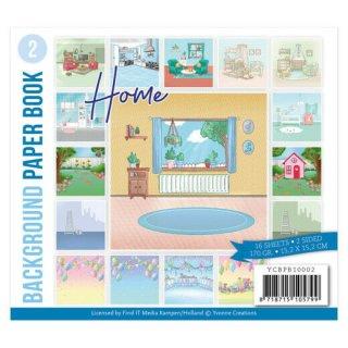 Scrapbooking Papier 15,2x15,2 cm Background Paper Hintergrund Motive Home